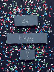 """""""Be Happy"""" handwritten card"""