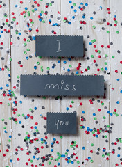 """I miss you"" handwritten card"