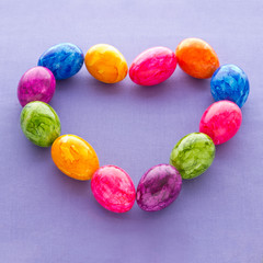 Colorful Easter Eggs heart square
