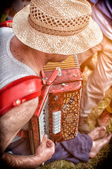 musician songs his accordion during a mountain party