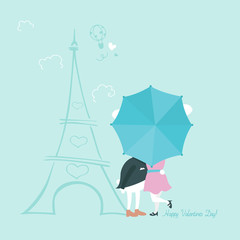 Cute bunnies behind umbrella. Greeting card for Valentines Day.