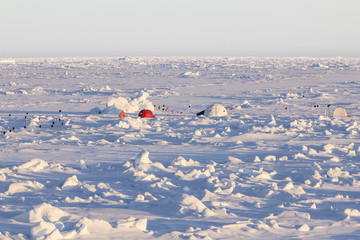 Ice camp over an ice floe in Antarctica