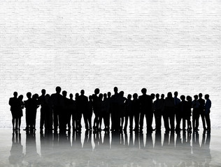Silhouette Business People Discussion Communication Concept