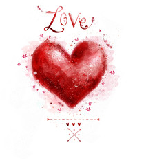 Watercolor  red heart. Love heart design.