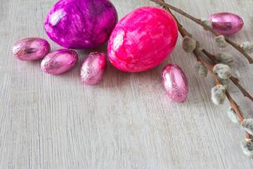 Easter eggs purple copy space