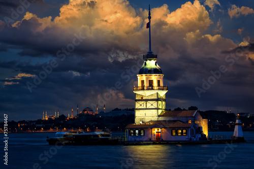 Aluminium Turkey Maiden Tower at dusk, Istanbul, Turkey