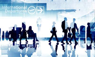 Business People Travel Departure Aiport Passenger Concept