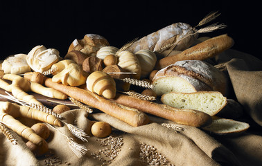 still life with bread in light painting