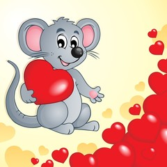 Valentine theme with mouse and hearts
