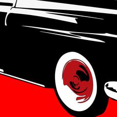 Gros plan pop art  sur l'avant d'une voiture.