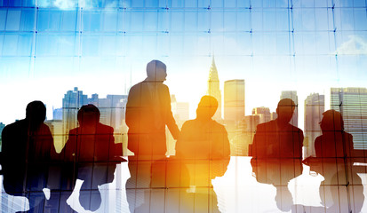 Back Lit Business People Cityscape Meeting Concept