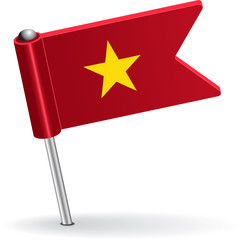 Vietnamese pin icon flag. Vector illustration
