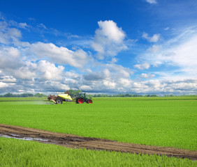 Tractor spraying wheat field with sprayer, herbicides