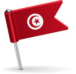 Tunisia pin icon flag. Vector illustration