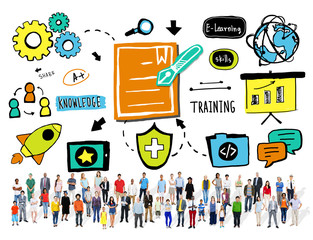 Multi Ethnic Group Training Success Winning Education Concept