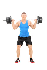 Athlete exercising with a heavy weight