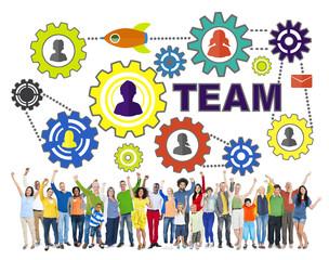 People Celebration Connection Gear Corporate Team Concept