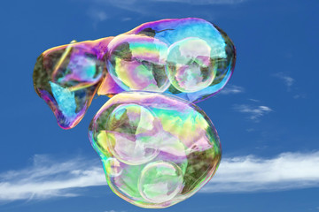 giant soap bubble rainbow colors