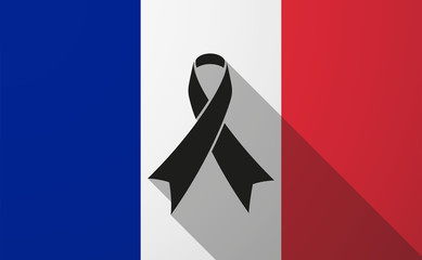 France long shadow flag with a black ribbon