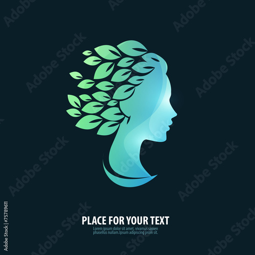 Girl's head. Logo, icon, emblem, template - 75789611