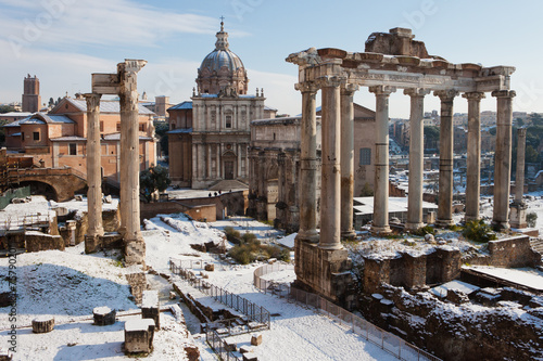 Aluminium Rome Roman Forum with snow.