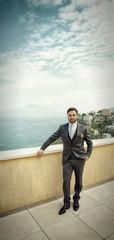 Young Italian groom before marriage in Sorrento peninsula.