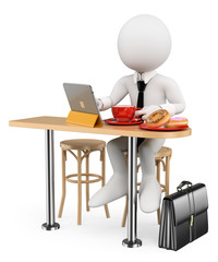 3D white people. Businessman breakfast with his tablet