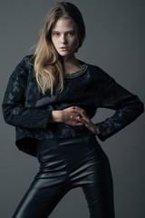 Fashion model posing at studio.