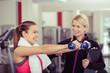 trainerin berät eine kundin im sportclub - 75792097