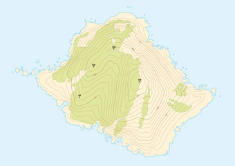 topographic map of a fictional island