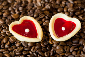 two sweet hearts and coffe beans