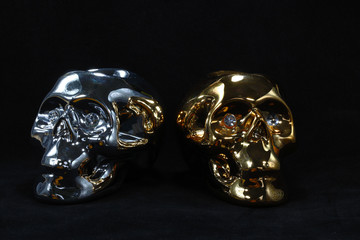 Gold and silver skull.