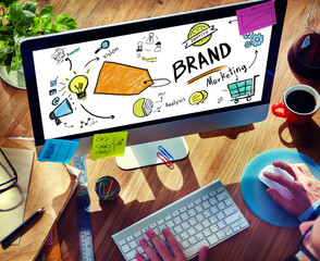 Businessman Computer Planning Marketing Brand Concept