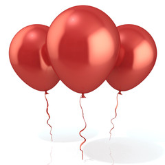 Three red balloons, isolated on white background