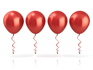 Red balloons, isolated on white background