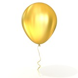 Golden balloon with ribbon, isolated on white background