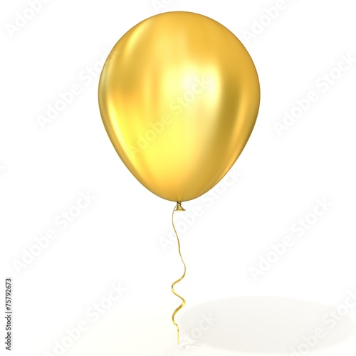 Golden balloon with ribbon, isolated on white background  - 75792673
