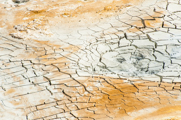 Cracked ground near mudpot