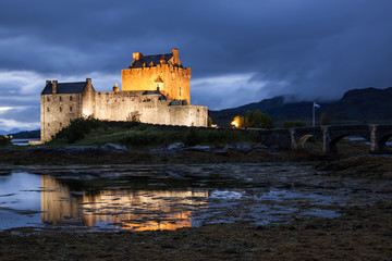 Eilean Donan Castle at dusk, Scotland, Uk