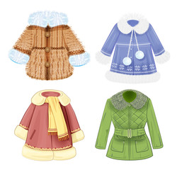 set of winter clothes for children