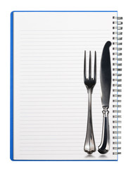 Notebook with Silver Cutlery