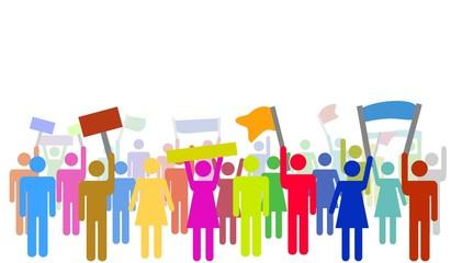 Illustration von bunten protestierenden Menschen