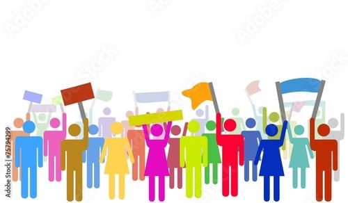 Illustration von bunten protestierenden Menschen - 75794299