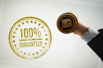 Guarantee a customer with a golden stamp