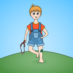 Cartoon of a boy with slingshot in hand and injured knee
