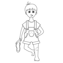 Coloring book. Cartoon of a boy with slingshot in hand