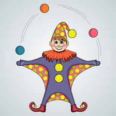 Cartoon of jester juggling balls