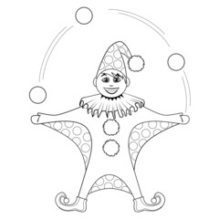 Coloring book. Cartoon of jester juggling balls