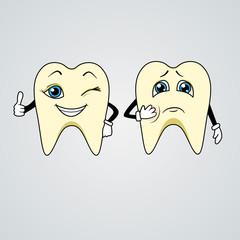 Cartoon of sad and happy teeth