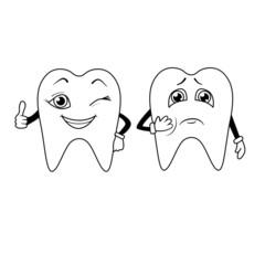 Coloring book. Cartoon of sad and happy teeth